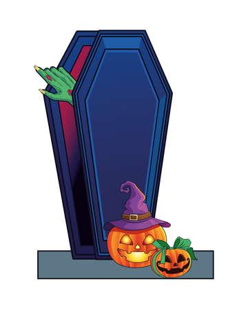 death zombie hand in coffin and pumpkins halloween icon vector illustration design 矢量图像