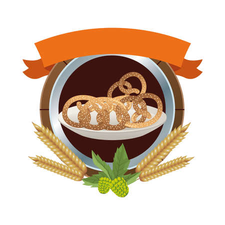dish with pretzels pastry food with ribbon frame vector illustration design