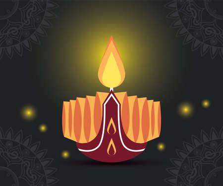 happy diwali celebration with candle wooden and lights vector illustration design