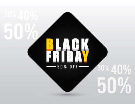 black friday sale banner with isometric lettering and fifty percent vector illustration design