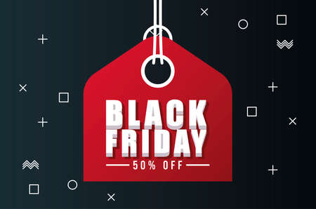 black friday sale banner with red tag hanging vector illustration design 向量圖像