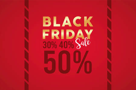 black friday sale banner with golden lettering in red background vector illustration design