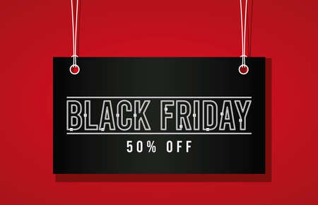 black friday sale banner with label hanging vector illustration design