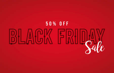 black friday sale banner with lettering in red background vector illustration design