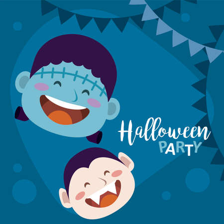 happy halloween party with dracula and frankenstein heads vector illustration design