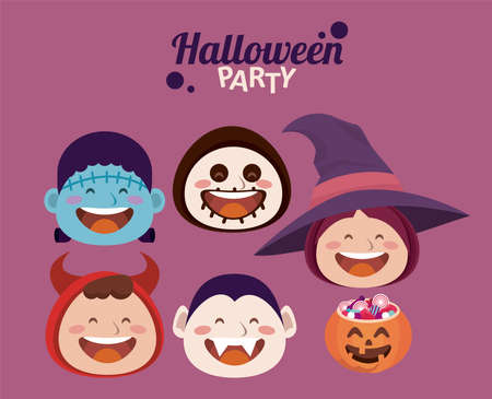 happy halloween party with little monsters head characters vector illustration design