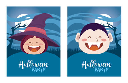 happy halloween party with dracula and witch heads vector illustration design