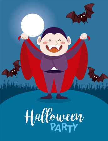 happy halloween party with dracula count and bats flying in the night scene vector illustration design