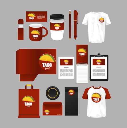 bundle of mexican food mockup elements branding vector illustration design Ilustração Vetorial