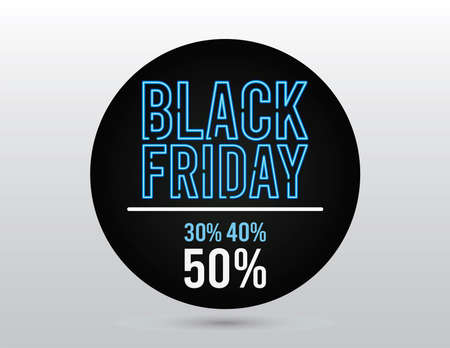black friday sale banner with neon light lettering in circular frame vector illustration design 向量圖像