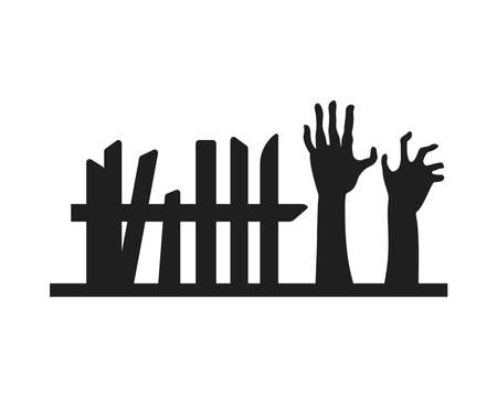 zombies death hands and fence vector illustration design