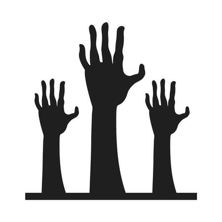 zombies death hands isolated icons vector illustration design Illustration