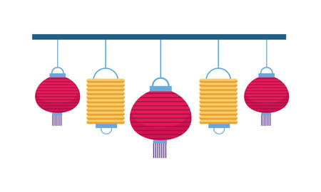 chinese paper lamps hanging icons vector illustration design