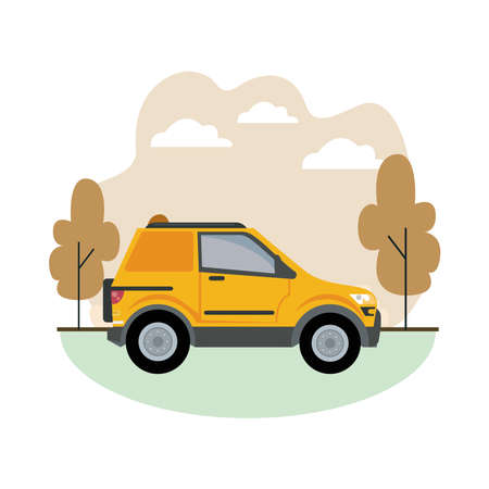 yellow camper car vehicle mockup icon vector illustration design