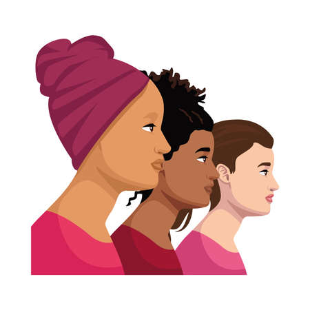 interracial women group cancer warriors vector illustration design