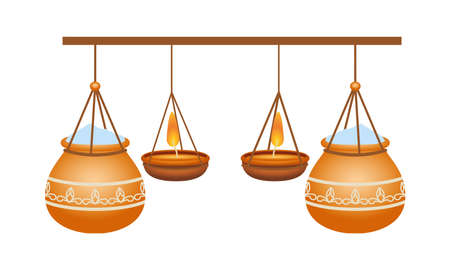 hindu ceramic pots with rice and candles decoration hanging vector illustration design