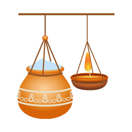 hindu ceramic pot with rice and candle decoration hanging vector illustration design