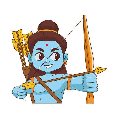 blue god rama archery hindu religion icon vector illustration design