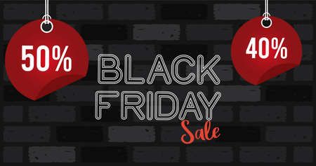 black friday sale banner with lettering in wall vector illustration design