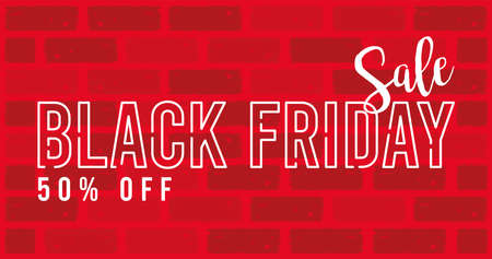 black friday sale banner with lettering in red wall vector illustration design
