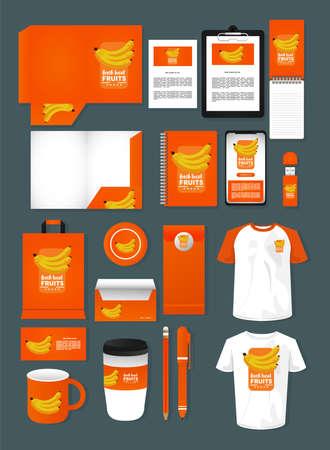 bundle of bananas fruits mockup elements branding vector illustration design