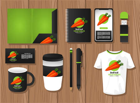 bundle of carrot vegetables mockup elements branding vector illustration design