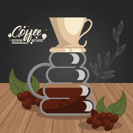 pour over coffee brewing method vector illustration design