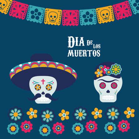 dia de los muertos poster with skulls couple and garlands vector illustration design