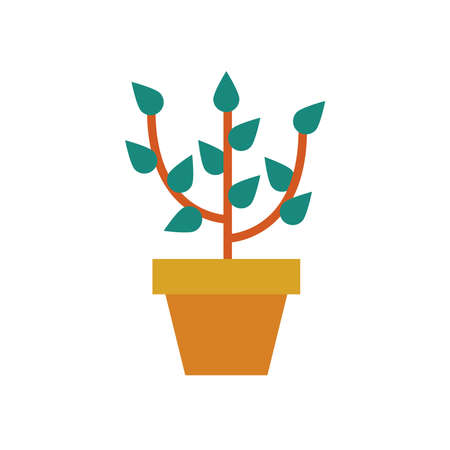 growth plant in ceramic pot flat style icon vector illustration design Stock Illustratie