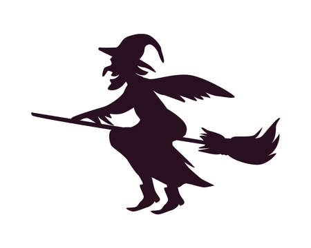 witch in broom line style icon vector illustration design