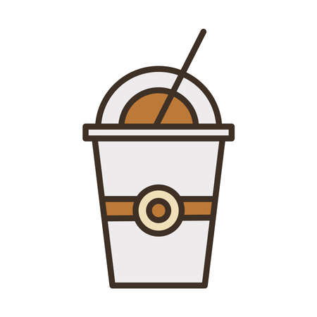 coffee plastic container and straw fill style icon vector illustration design