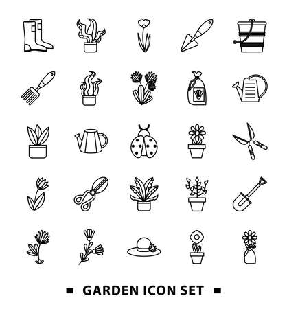 bundle of gardening tools line style icons vector illustration design