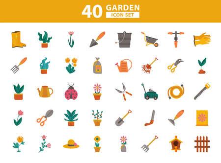 bundle of gardening tools flat style icons vector illustration design