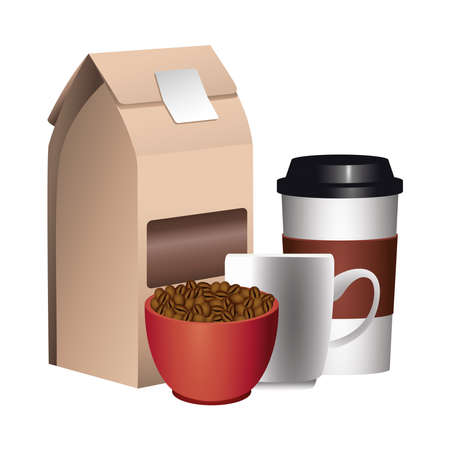 coffee product packing box with grains in cup and plastic container vector illustration design