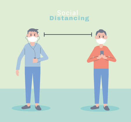young men wearing face masks social distance characters vector illustration design