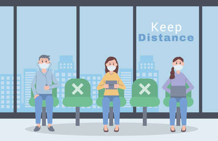 young people wearing face masks keep distance vector illustration design
