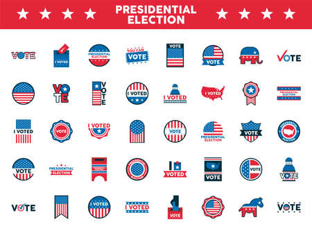 bundle of fourty usa presidential election icons vector illustration design