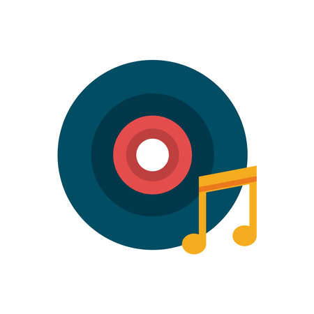 vinyl disk and music note flat style icon vector illustration design vector illustration design