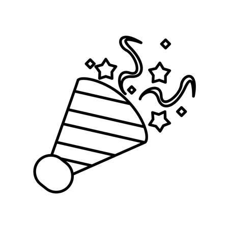 cornet party with confetti line style icon vector illustration design