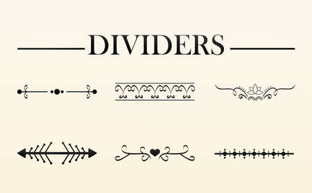 bundle of six elegants dividers set and lettering vector illustration design