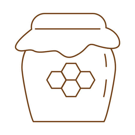 sweet honey pot line style icon vector illustration design