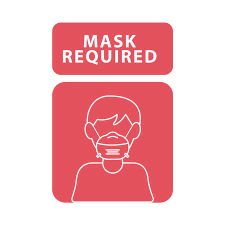 mask required red advertise label with man wearing mask vector illustration design