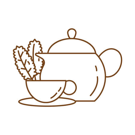tea in ceramic cup with leafs and teapot line style icon vector illustration design
