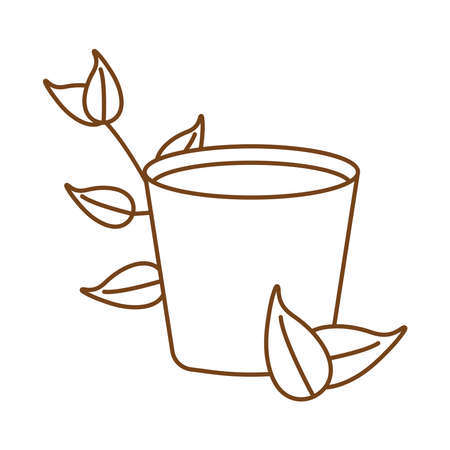 tea in ceramic cup with leafs plant line style icon vector illustration design