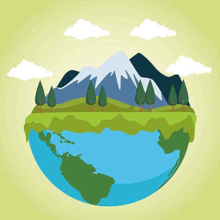 save the world environmental poster with earth planet and landscape vector illustration design