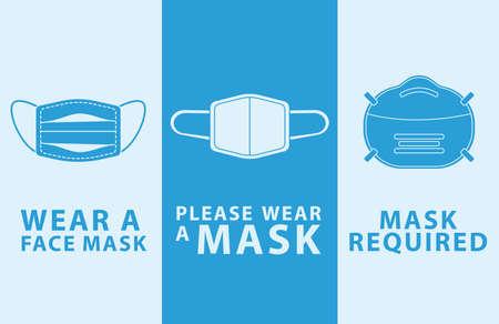 bundle of three masks wear mask advertise labels vector illustration design Ilustración de vector