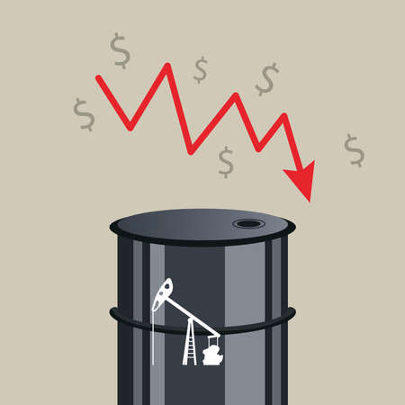 oil price graphic with barrel in statistics arrow and money symbols vector illustration design