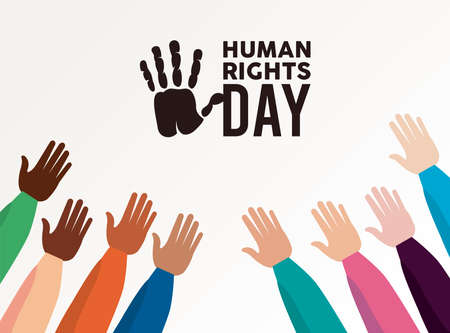 human rights day poster with interracial hands up vector illustration design