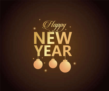 happy new year golden lettering with balls hanging in black background vector illustration design