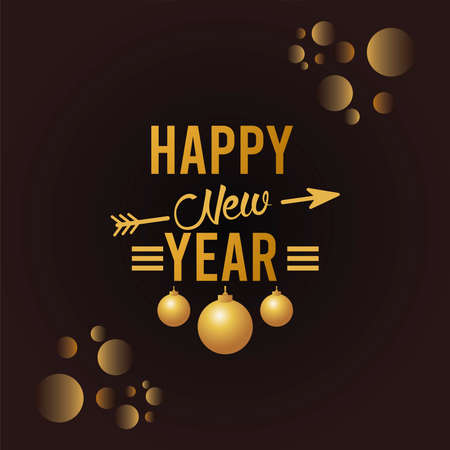 happy new year lettering card with golden balls in black background vector illustration design